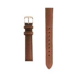 Tan Leather Rose Gold Buckle - Replacement 15mm Italian Leather Strap Minimalist Watch Strap