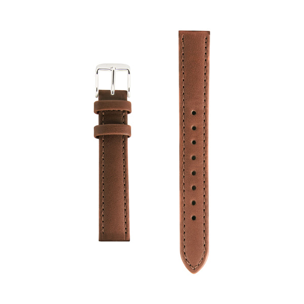 Tan Leather Replacement Strap - Silver Buckle - Replacement Italian Leather Strap - 15mm - Minimalist Watch - Swiss Movement