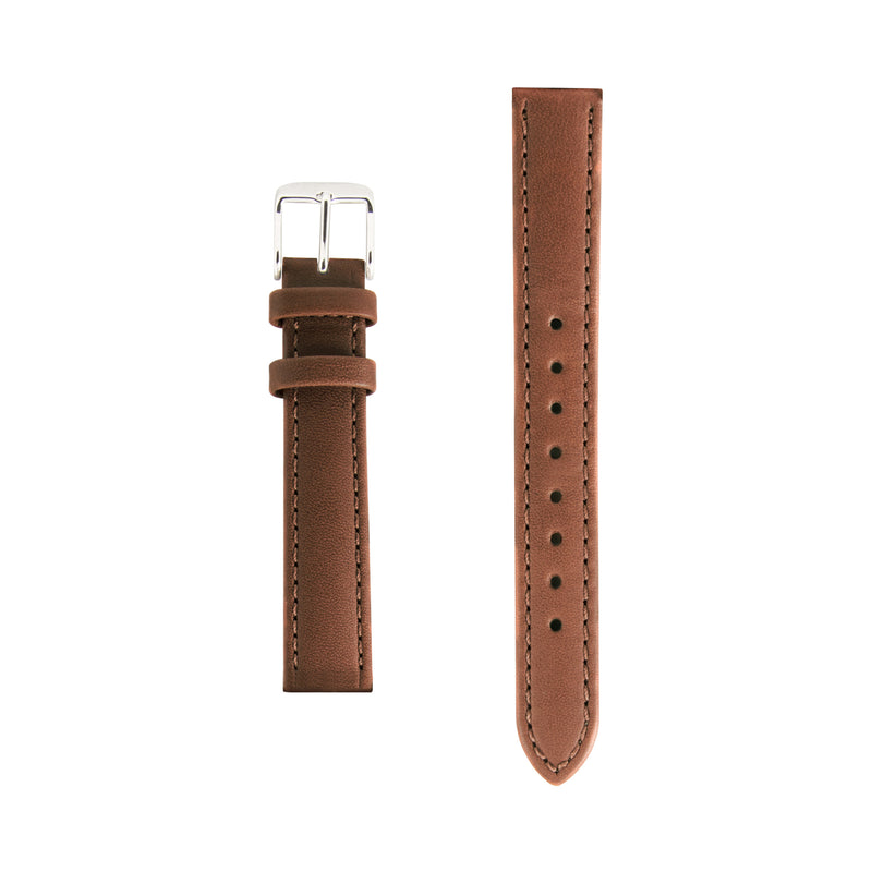 Tan Leather Replacement Strap - Silver Buckle - Replacement Italian Leather Strap - 15mm