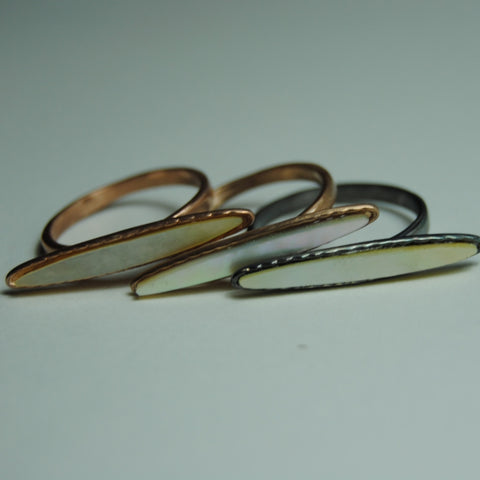 Marquise mother of pearl rings