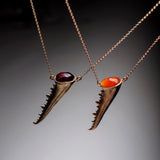 Carnelian & Grenade Crab Claw Necklace