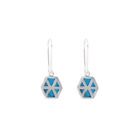 Six Triangles Enamel Earrings