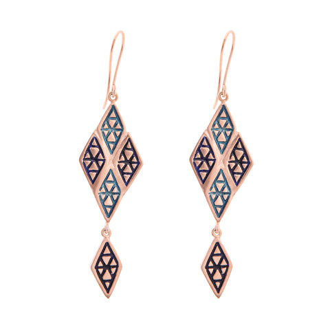 Long Logo Enamel Earrings