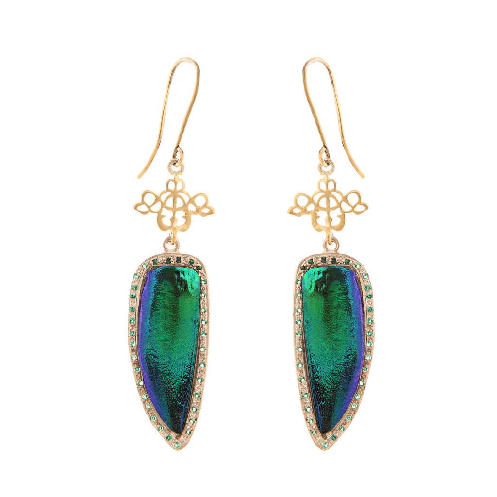 Green Tiger Beetle Earrings