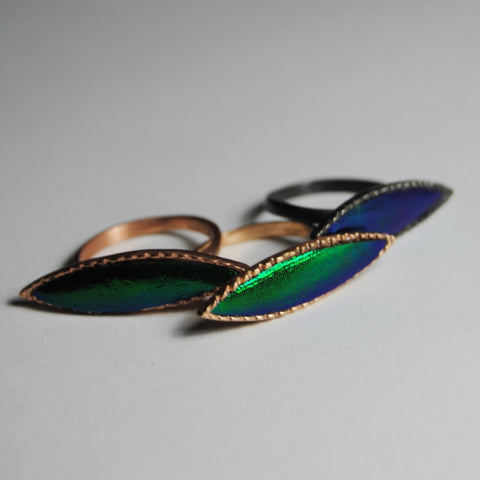 Marquise scarab wing ring