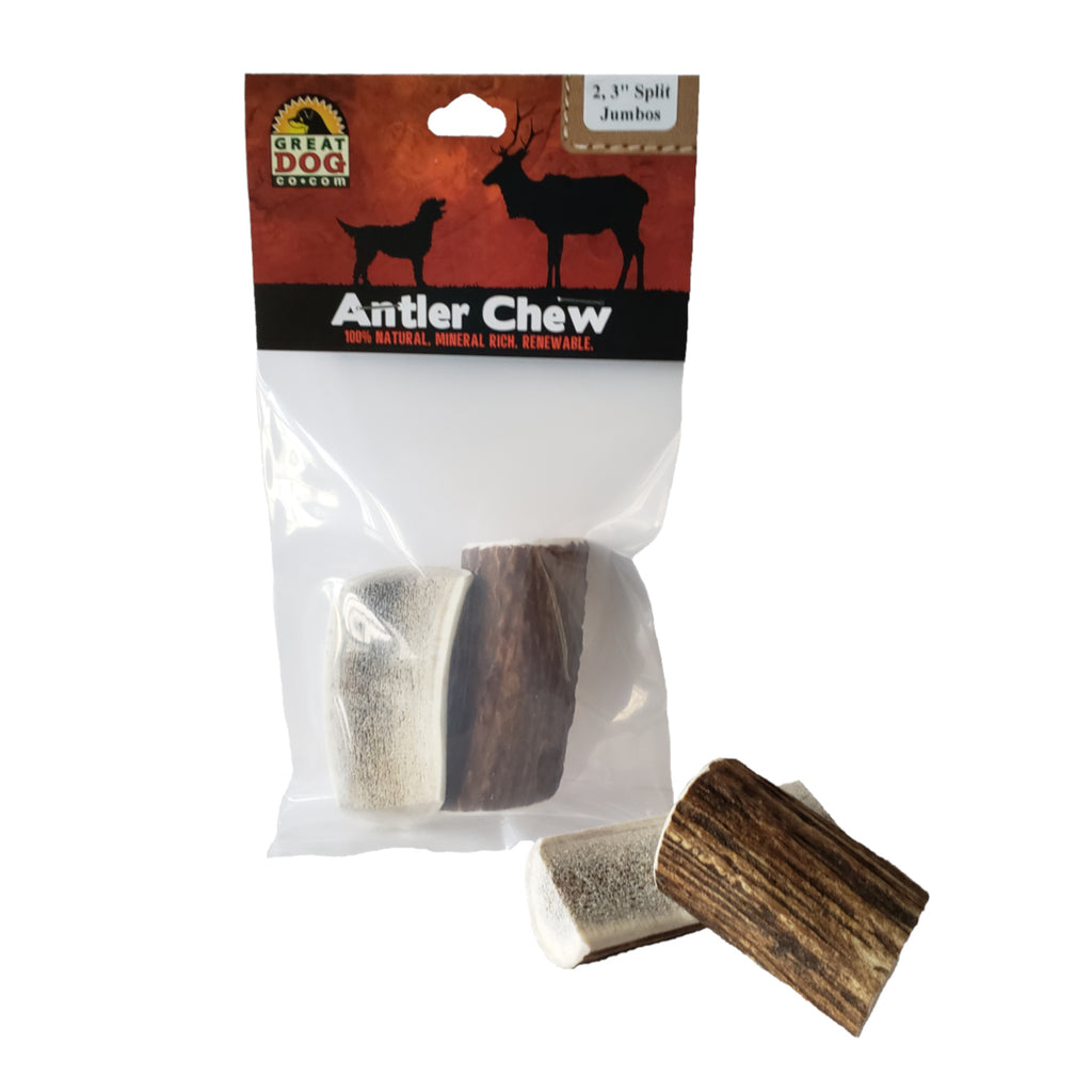 GREAT DOG 2, 3 Inch Split Jumbo Elk Antler Chews (Sourced & Made in USA)