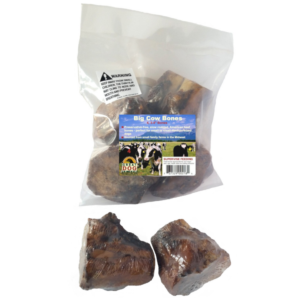 GREAT DOG Big Cow (Beef) Bones - 4 Count Bag (Sourced & Made in USA)
