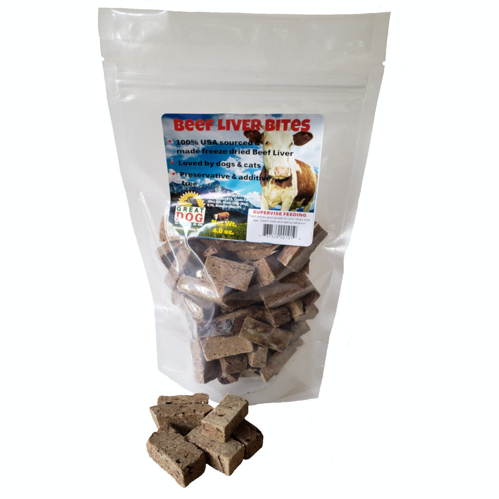 GREAT DOG Beef Liver Bites 4.0 oz Bag (Sourced & Made in USA)