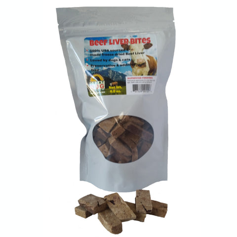 GREAT DOG Beef Liver Bites 6.0 oz Bag (Sourced & Made in USA)