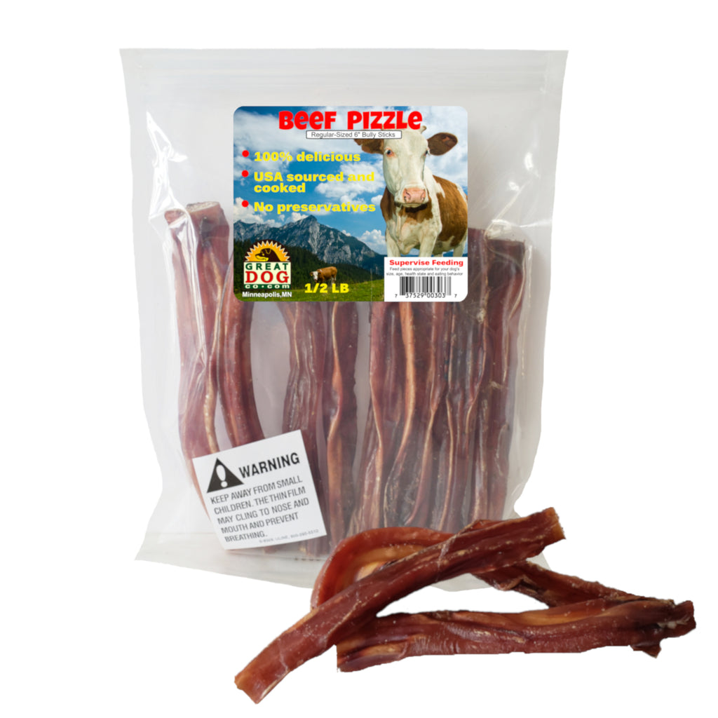 Beef Pizzle 6 Inch - 1/2 LB Bag