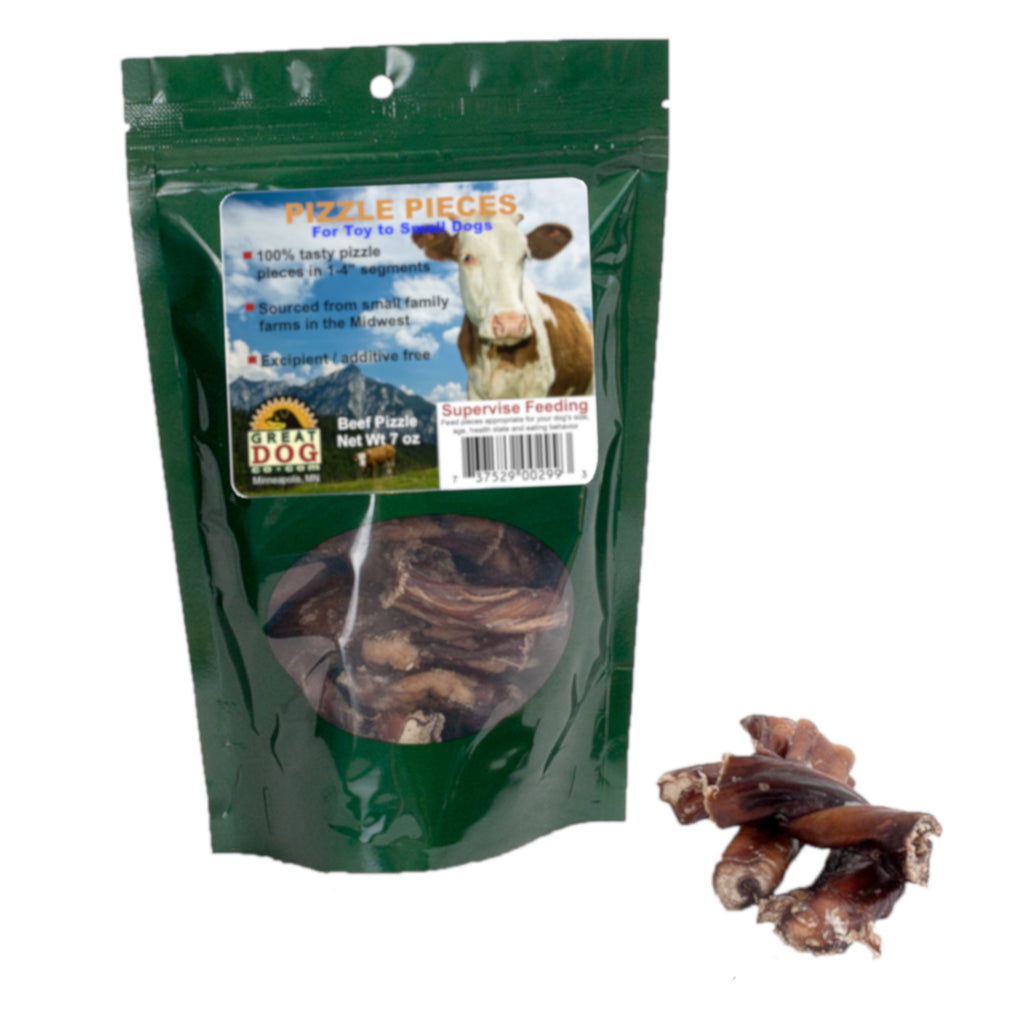 GREAT DOG Beef Pizzle Pieces (Bully Sticks) - 7 oz Bag (Sourced & Made in USA)
