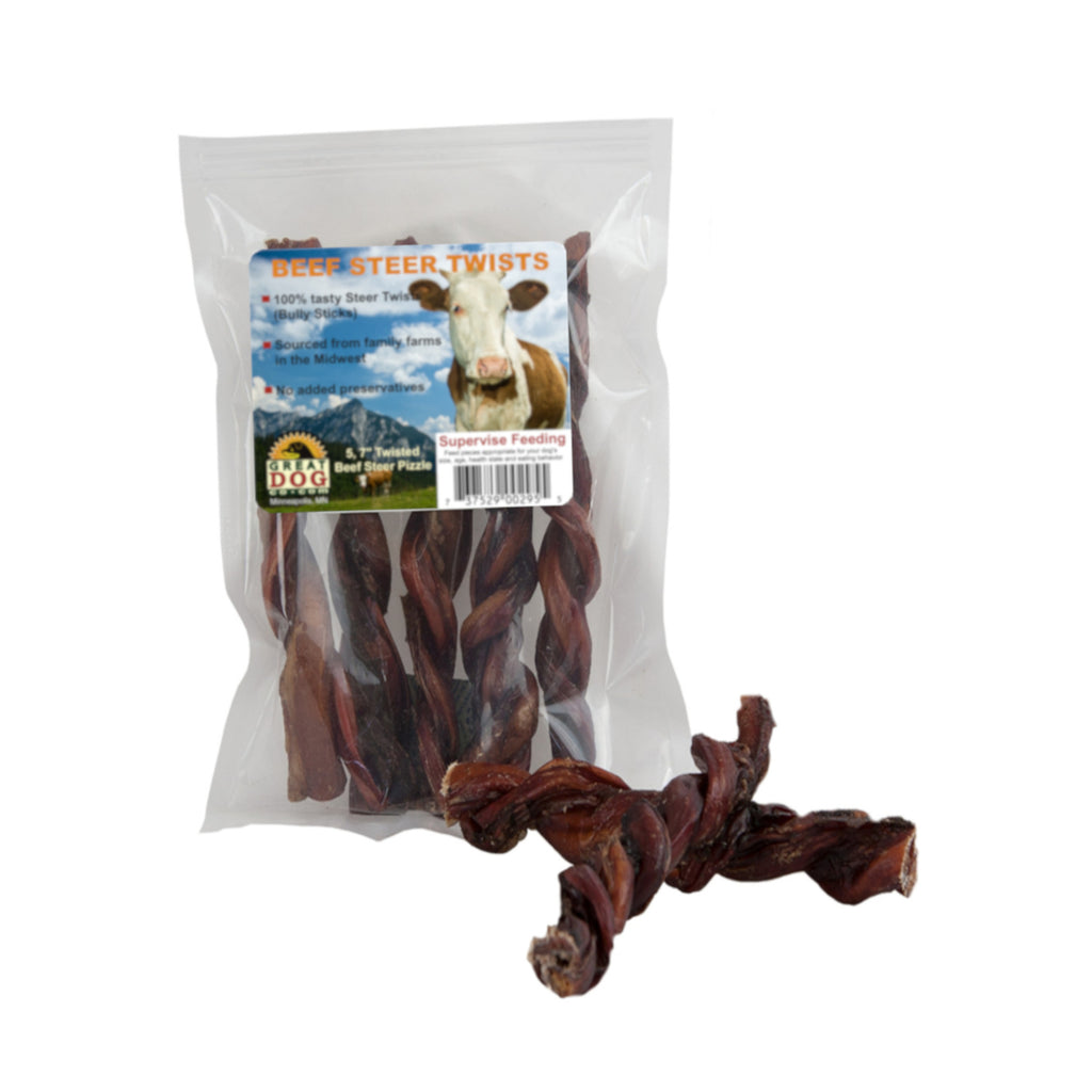 "GREAT DOG Beef Steer Twists (Bully Sticks) 5, 7"" Pieces (Sourced & Made in USA)"
