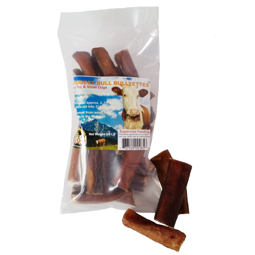 Biggest Bull Bullyettes (Bully Stick Pieces) - 3/4 LB Bag - Sourced and Made in USA