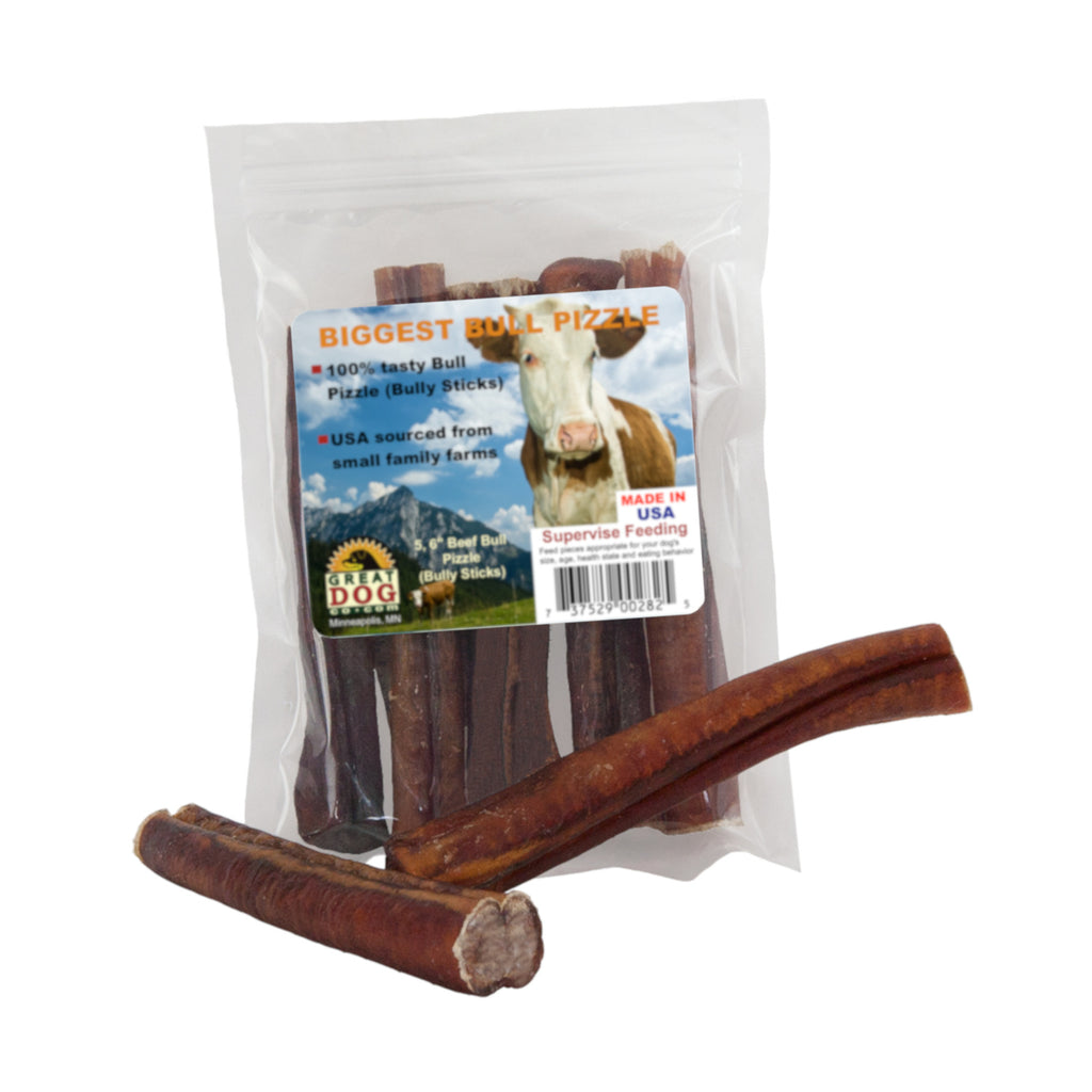 Biggest Bull Pizzle (Bully Sticks) 5, 6 Inch Sticks - Sourced and Made in USA