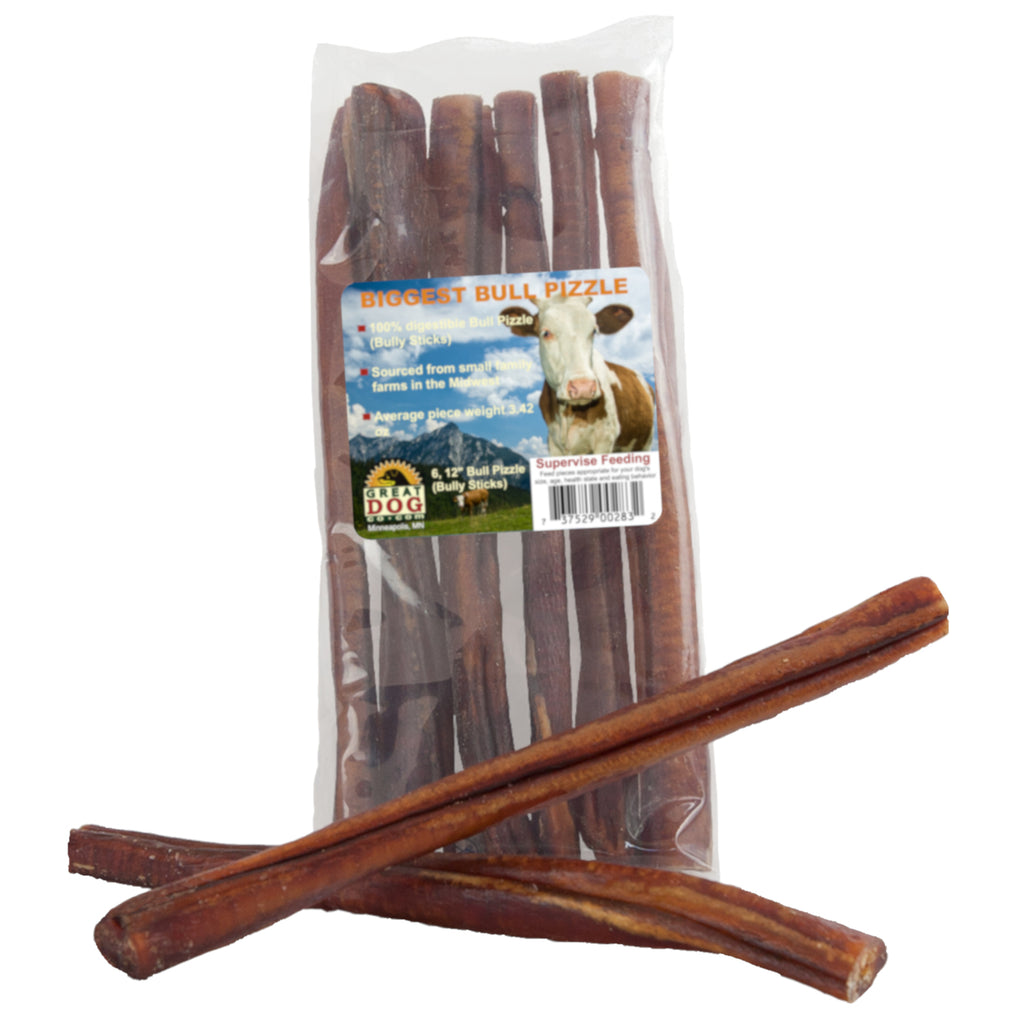 Biggest Bull Bully Sticks 6, 12 Inch Sticks - Sourced and Made in USA