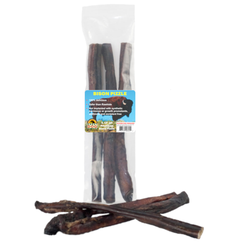 "GREAT DOG Bison Pizzle (Bully Sticks) - 3, 12"" Pieces (Sourced & Made in USA)"