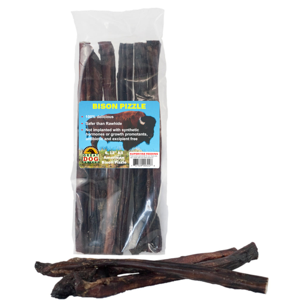 Bison Bully Sticks - 6, 12 Inch Sticks - Sourced and Made in USA