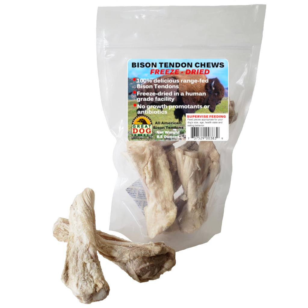 NEW! GREAT DOG Bison Tendon Chews - Freeze Dried - 6.5 oz. Bag (Sourced & Made in USA)