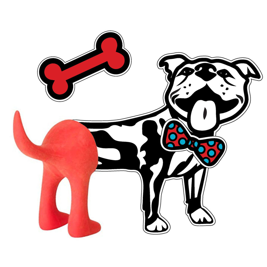 Removable Vinyl Dog Wall Decal and Tail Hook Set