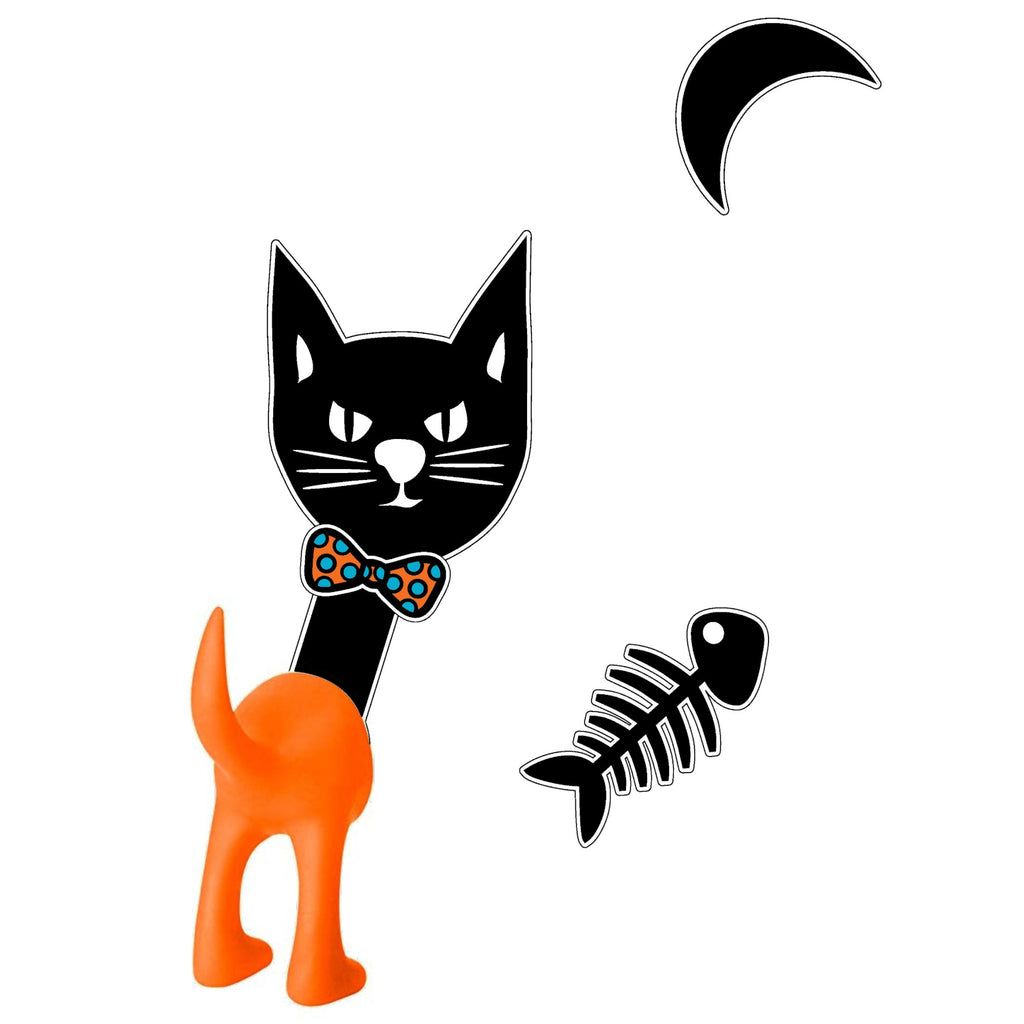 Removable Vinyl Cat Wall Decal and Tail Hook Set