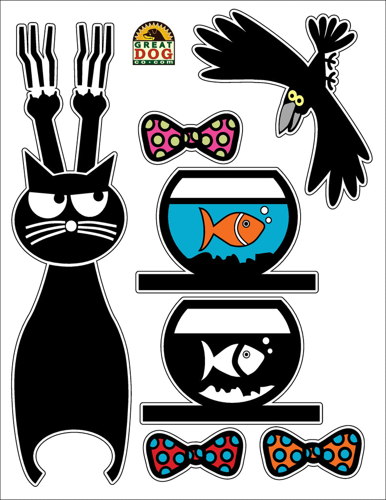 Removable Vinyl Wall Cat Decal and Tail Hook Set