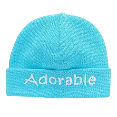 Embroidered Hat Turquoise // Adorable