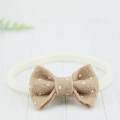 'Sweet' Felt Dot Bow // French Vanilla