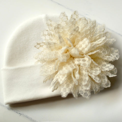 'Posh Flower' Hospital Hat // Cream