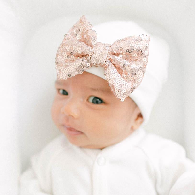 'Shimmer Bow' Hospital Hat // Rose Gold