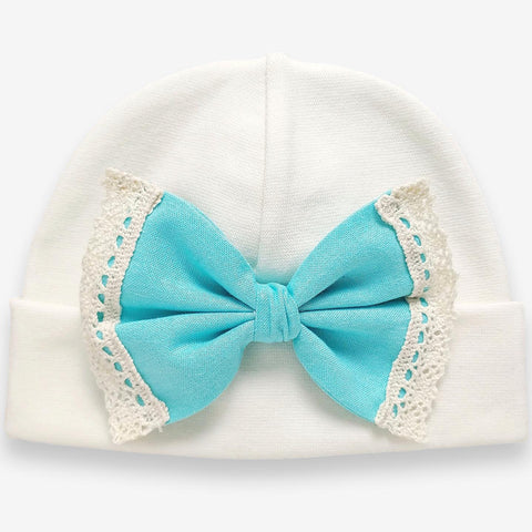 'Vintage Bow' Hospital Hat Cream // Turquoise