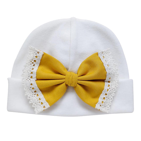 'Vintage Bow' Hospital Hat Cream // Gold