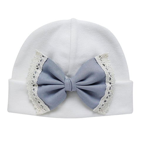 'Vintage Bow' Hospital Hat Cream // Silver