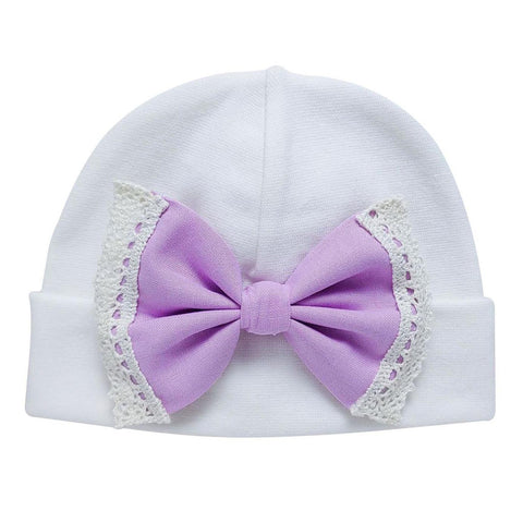 'Vintage Bow' Hospital Hat Cream // Lilac