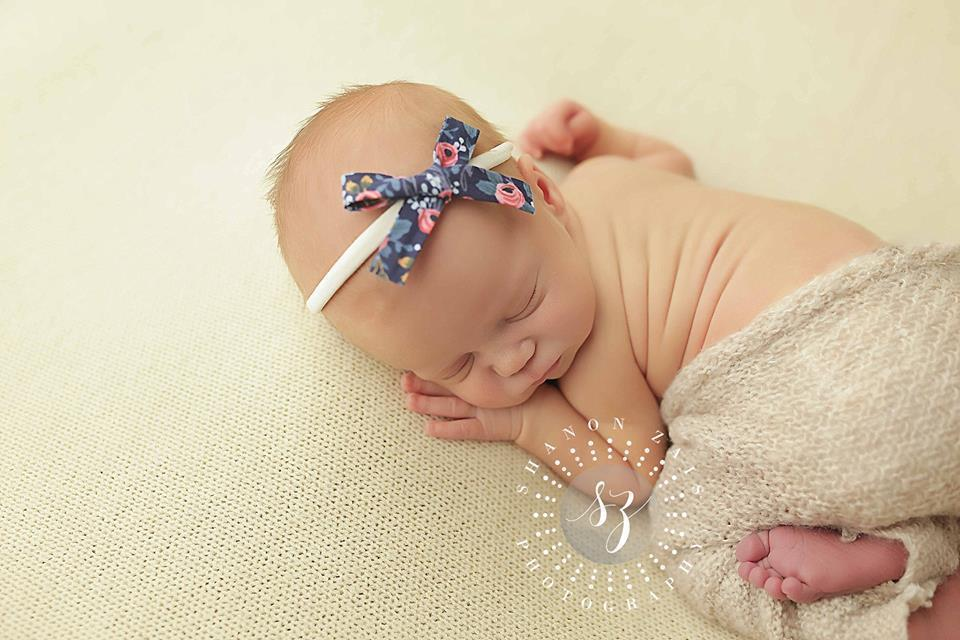 'Aisha' Hand-Tied Cotton Print Bow // Fleur Navy-liberty headband-UniqueKidz