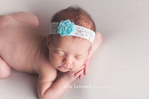 'Amaris' Lace + Flower Headband // Aqua-Amaris Lace and Flower Headband-UniqueKidz