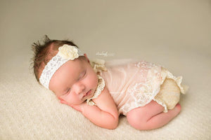 'Amaris' Lace + Flower Headband // Cream-Amaris Lace and Flower Headband-UniqueKidz