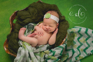 'Amaris' Lace + Flower Headband // Green-Amaris Lace and Flower Headband-UniqueKidz