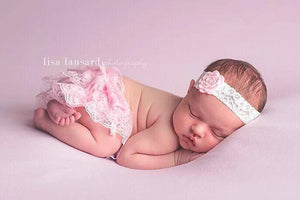 'Amaris' Lace + Flower Headband // Light Pink-Amaris Lace and Flower Headband-UniqueKidz