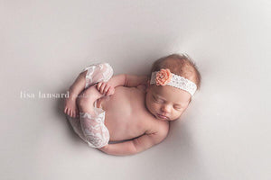 'Amaris' Lace + Flower Headband // Peach-Amaris Lace and Flower Headband-UniqueKidz