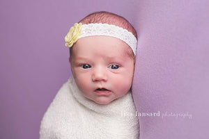 'Amaris' Lace + Flower Headband // Yellow-Amaris Lace and Flower Headband-UniqueKidz
