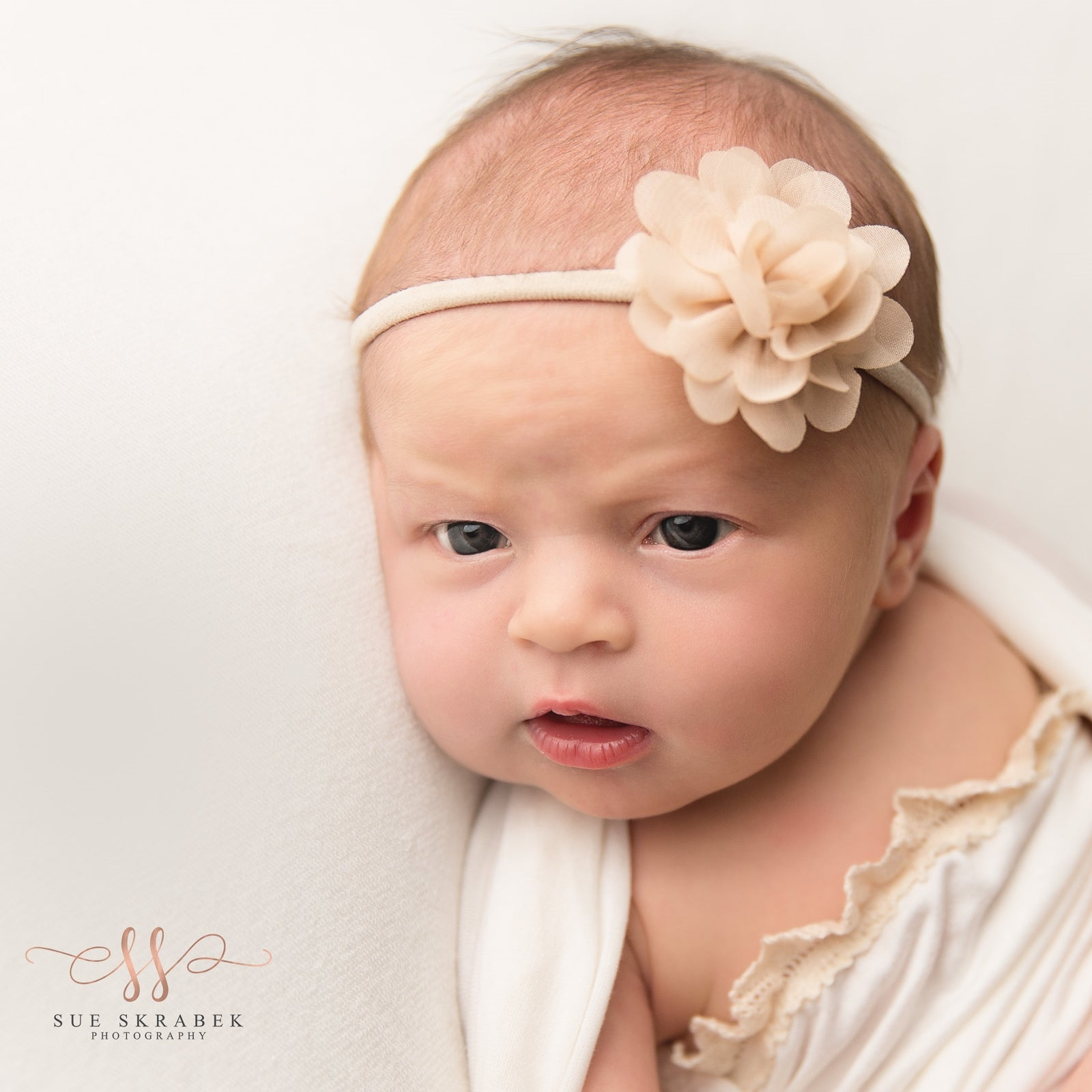 'Little Bloom' Flower Headband // Beige