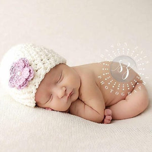 'Blossom' Crochet Hat // Honey Lavender-Flower Crochet Hats-UniqueKidz