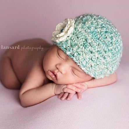 'Blossom' Crochet Hat // Mint Cream-Flower Crochet Hats-UniqueKidz