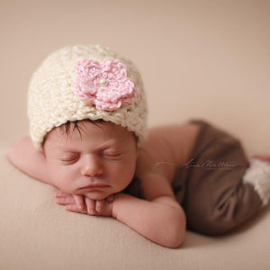 'Blossom' Crochet Hat // Pink Petal-Flower Crochet Hats-UniqueKidz