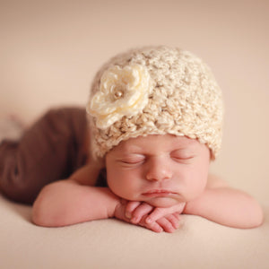 'Blossom' Crochet Hat // Vanilla Bean-Flower Crochet Hats-UniqueKidz