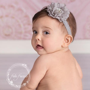 Chiffon Sparkle Flower Headband // Grey-flower headband-UniqueKidz