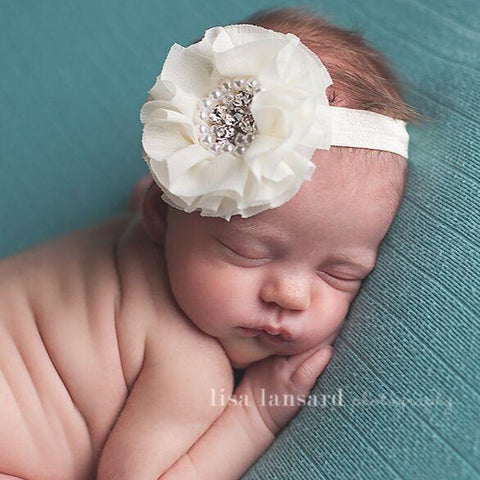 'Sparkle' Flower Headband // Cream