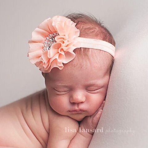 'Sparkle' Flower Headband // Peach