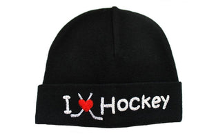 Embroidered Hat Black // I Love Hockey-Embroidered Hats-UniqueKidz