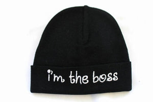 Embroidered Hat Black // I'm the Boss-Embroidered Hats-UniqueKidz